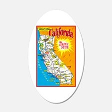 California Map Greetings Wall Decal