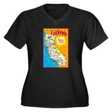 California Map Greetings Women's Plus Size V-Neck