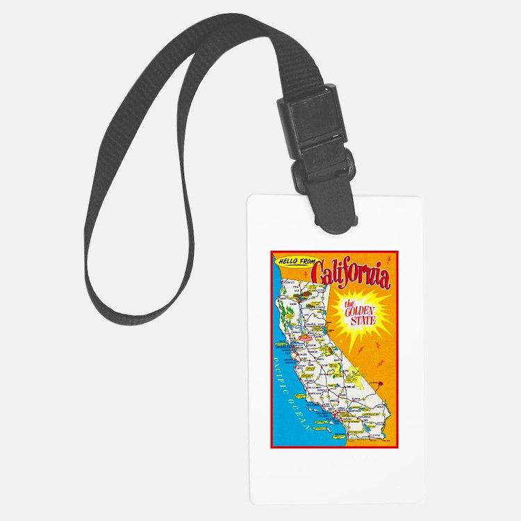 California Map Greetings Luggage Tag