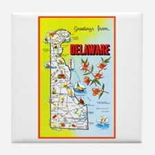Delaware Map Greetings Tile Coaster