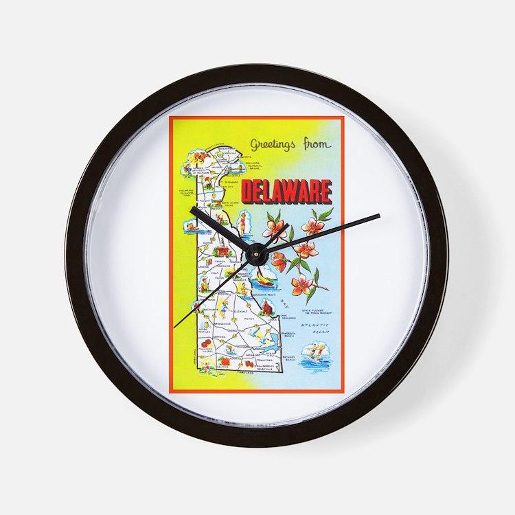 Delaware Map Greetings Wall Clock