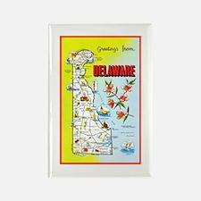 Delaware Map Greetings Rectangle Magnet