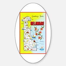 Delaware Map Greetings Sticker (Oval)