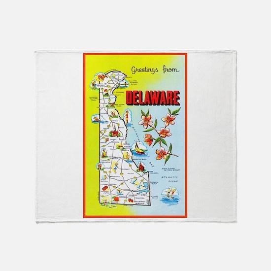 Delaware Map Greetings Throw Blanket
