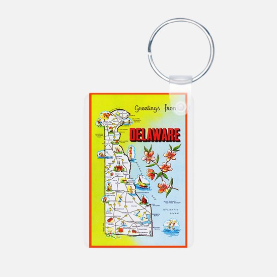 Delaware Map Greetings Aluminum Photo Keychain