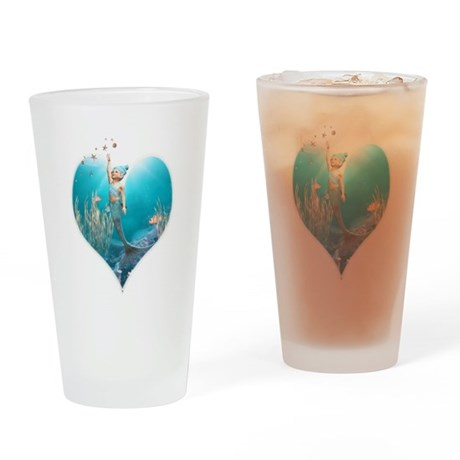Cute Mermaid 1 Drinking Glass