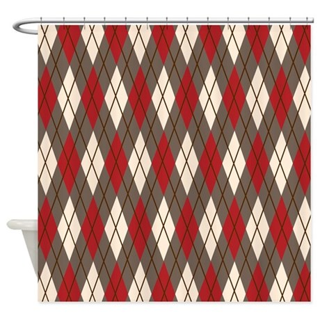 Argyle Red Gray Shower Curtain By PrintedLittleTreasures