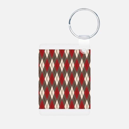 Argyle Red Gray Keychains