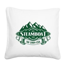 Steamboat Mountain Emblem Square Canvas Pillow