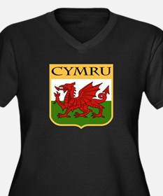 Wales Coat of Arms Women's Plus Size V-Neck Dark T