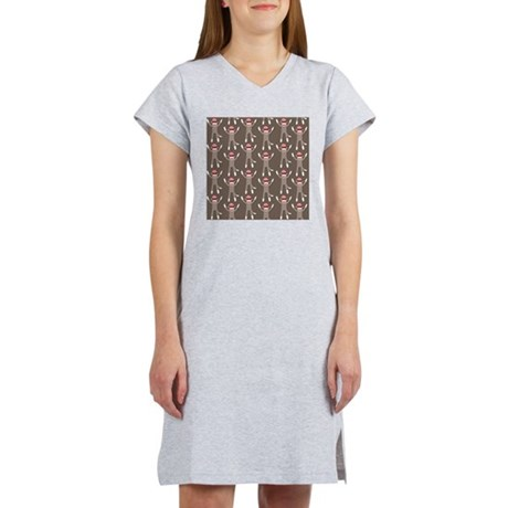 Grey Sock Monkey Print Women's Nightshirt