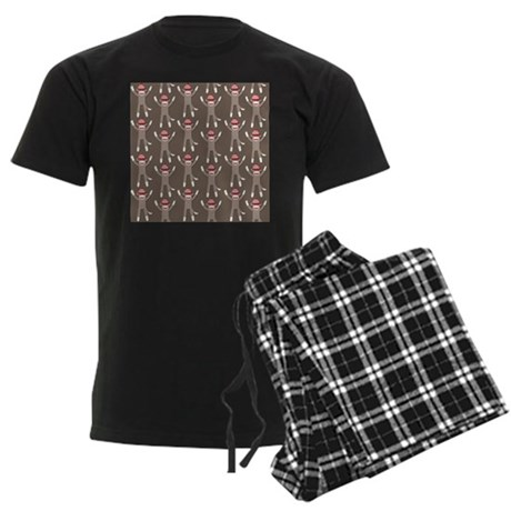 Grey Sock Monkey Print Men's Dark Pajamas