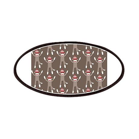 Grey Sock Monkey Print Patches