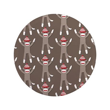 """Grey Sock Monkey Print 3.5"""" Button"""