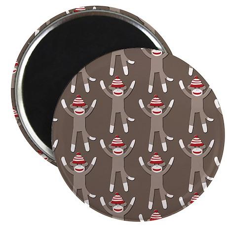 "Grey Sock Monkey Print 2.25"" Magnet (10 pack)"