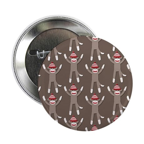 "Grey Sock Monkey Print 2.25"" Button (10 pack)"