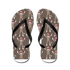 Grey Sock Monkey Print Flip Flops