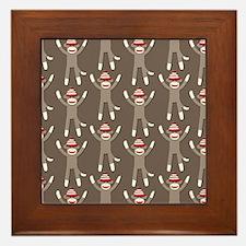 Grey Sock Monkey Print Framed Tile