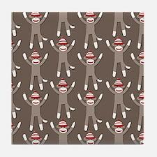 Grey Sock Monkey Print Tile Coaster