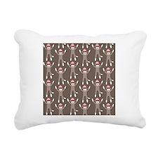 Grey Sock Monkey Print Rectangular Canvas Pillow