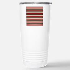 Red Gray Brown Horizontal Stripes Travel Mug