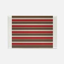 Red Gray Brown Horizontal Stripes Rectangle Magnet