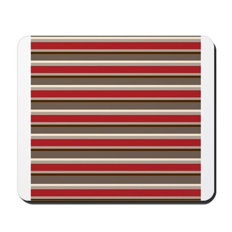 Red Gray Brown Horizontal Stripes Mousepad