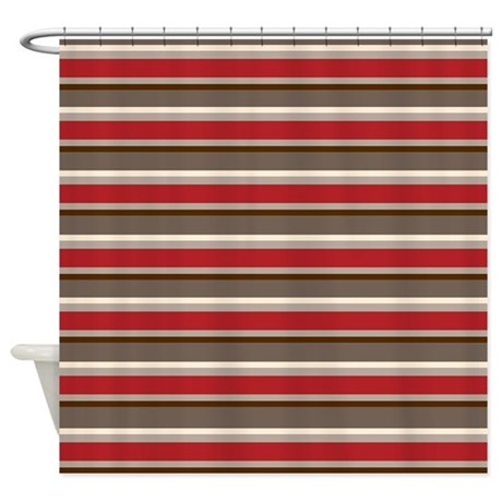 Red Gray Brown Horizontal Stripes Shower Curtain By Printedlittletreasures