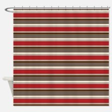 Red Gray Brown Horizontal Stripes Shower Curtain