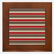 Red Gray Brown Horizontal Stripes Framed Tile