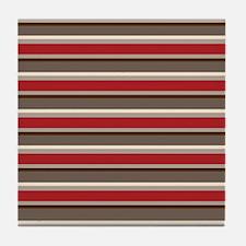 Red Gray Brown Horizontal Stripes Tile Coaster