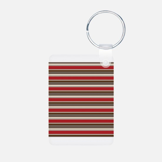 Red Gray Brown Horizontal Stripes Keychains