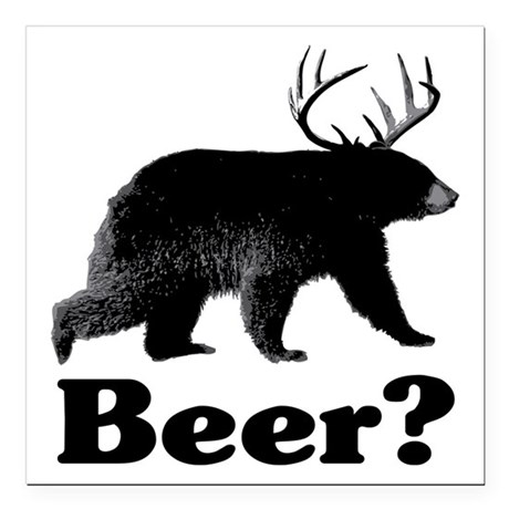 "Beer? Square Car Magnet 3"" x 3"""