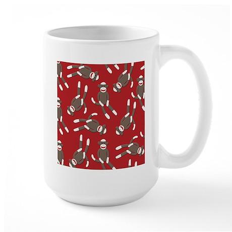 Red Sock Monkey Print Large Mug