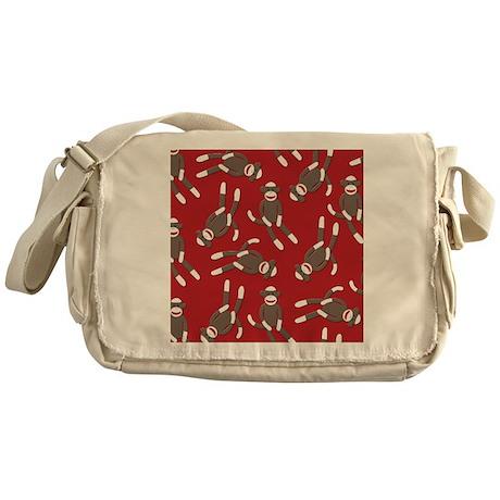 Red Sock Monkey Print Messenger Bag