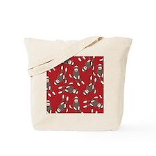 Red Sock Monkey Print Tote Bag
