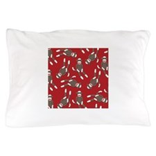 Red Sock Monkey Print Pillow Case