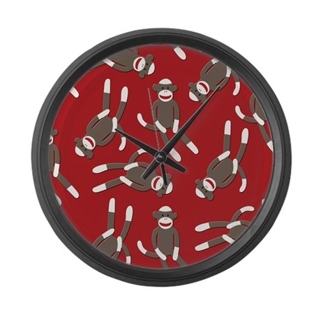 Red Sock Monkey Print Large Wall Clock