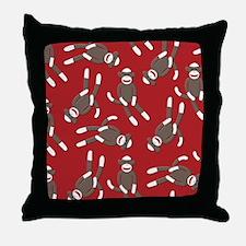 Red Sock Monkey Print Throw Pillow