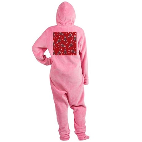 Red Sock Monkey Print Footed Pajamas