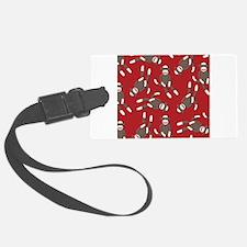 Red Sock Monkey Print Luggage Tag