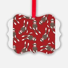 Red Sock Monkey Print Ornament