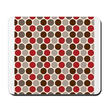 Red Gray Polka Dots Mousepad