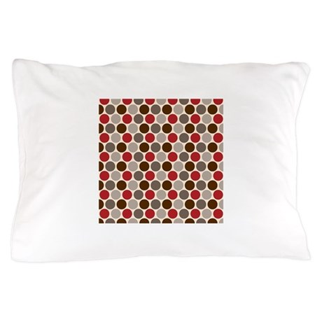 Red Gray Polka Dots Pillow Case