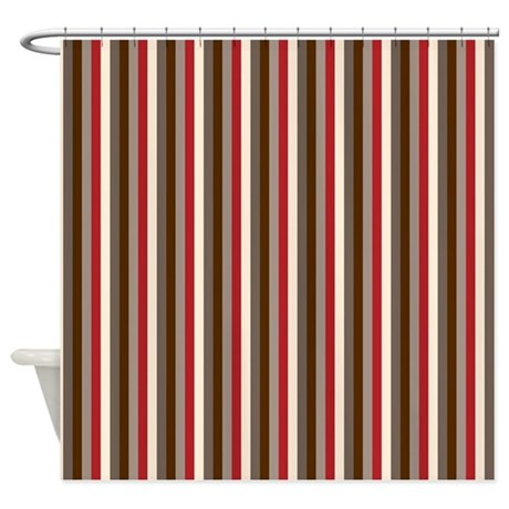 Red Gray Brown Stripes Shower Curtain By PrintedLittleTreasures