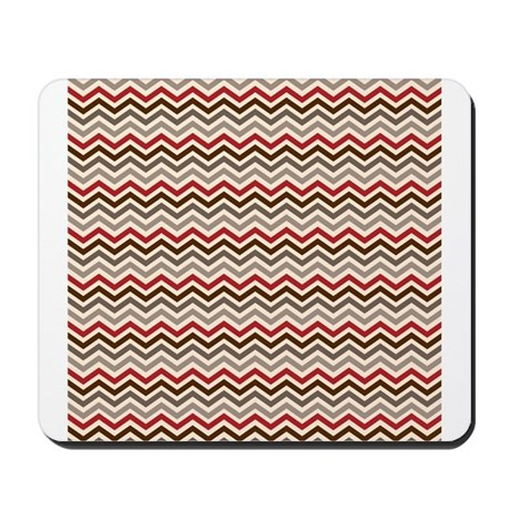 Red Gray Chevron Zigzags Mousepad
