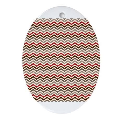 Red Gray Chevron Zigzags Ornament (Oval)