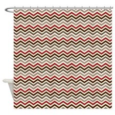 Red Gray Chevron Zigzags Shower Curtain