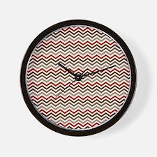 Red Gray Chevron Zigzags Wall Clock