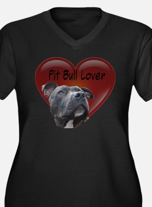 Pit Bull Lover Women's Plus Size V-Neck Dark T-Shi